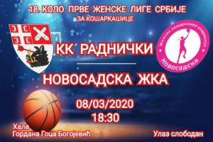 18. kolo Prve ženske lige Srbije za košarkašice KK Radnički - Novosadska ŽKA @ Hala Gordana Goca Bogojević